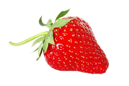 fresh, juicy and healthy strawberry, red on white  photo