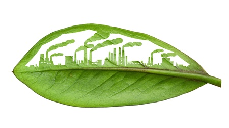 eco building: industrial city, cut the leaves of plants, isolated over white