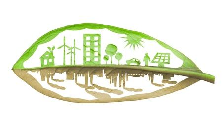 sustentabilidad: Ciudad ecolog�a verde contra el concepto contaminaci�n Foto de archivo
