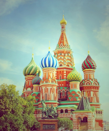 St Basils cathedral and Monument to Minin and Pozharsky on Red Square in Moscow Russia Stock Photo - 18966241