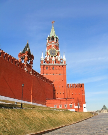 spasskaya: Moscow Kremlin  Spasskaya tower with a red star on a top of it and with a clock Stock Photo