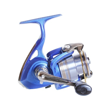 spinning reel: The Spinning reel for fishing isolated over white