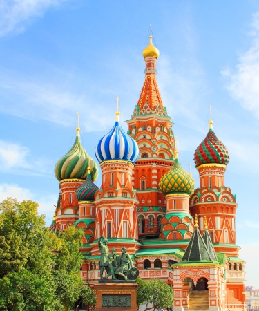 sights: St Basils cathedral and Monument to Minin and Pozharsky on Red Square in Moscow Russia