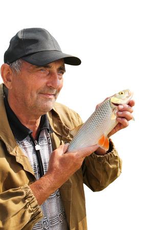 chub: chub in the hand of fisherman Stock Photo