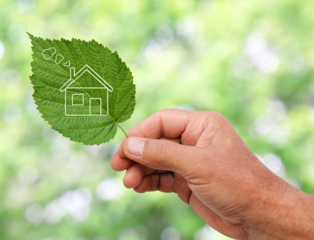 Eco house concept ,hand holding eco house icon in nature  Stock Photo