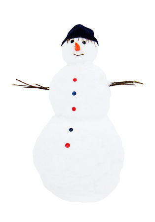 snow man standing close up photo