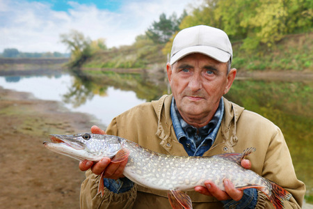 old fisherman and his catch - pike photo