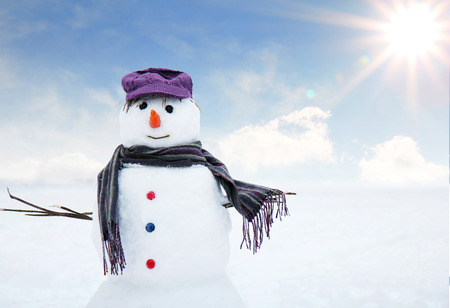 wintry: snow man standing close up