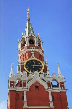 spasskaya: Moscow Kremlin. Spasskaya tower with a red star on a top of it and with a clock