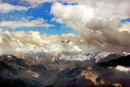 mist: Mountain Peak with mist and clouds landscape, russia, sochi