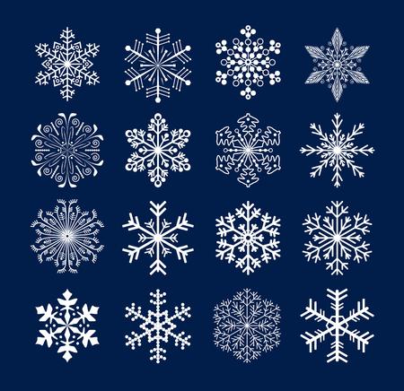 blue snowflakes: set of snowflakes Illustration