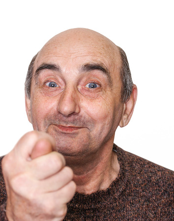isolated old man with a grimace on his face and fico gesture Stock Photo