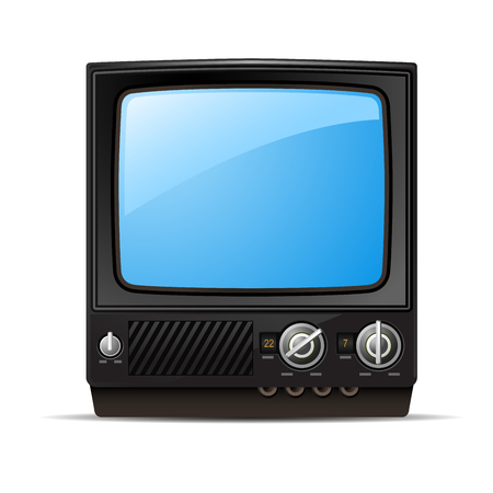 Retro tv set with blank screen  - vintage television, front view Çizim