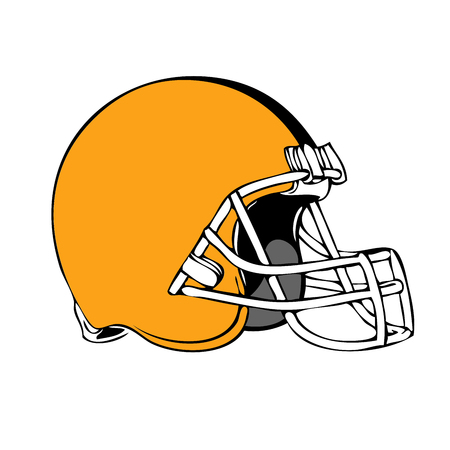 Simple american football helmet on white background