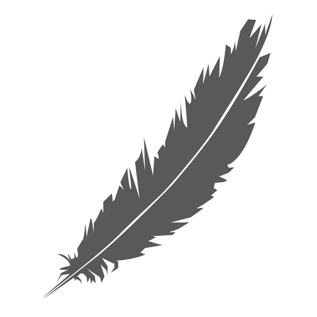 Simple icon of feather silhouette - concept of poet and whriter  Ilustração