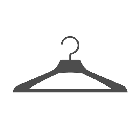 Silhouette of clothes hanger - simple icon on white