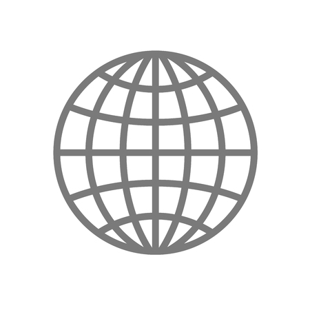 Wireframe globe icon - planet symbol Illustration