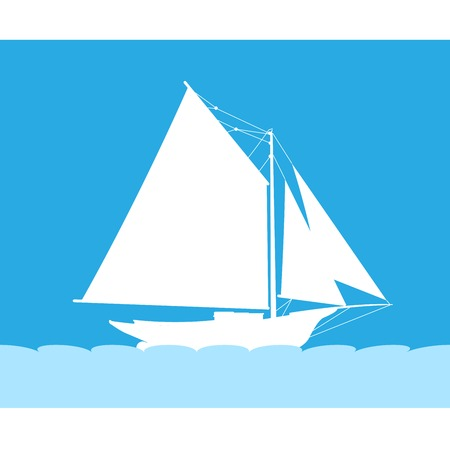 Silhouette of sailboat in sea - side view of sailing vessel Illustration