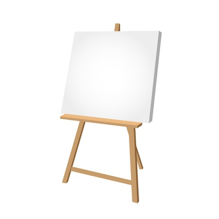 Simple easel on white background - artist workplace  Ilustração