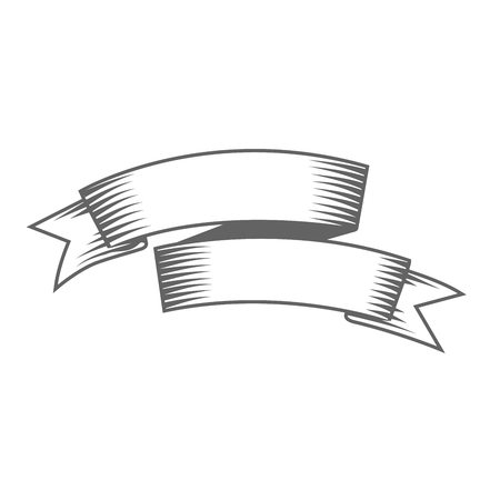 Vintage double banner - bent ribbon Vettoriali