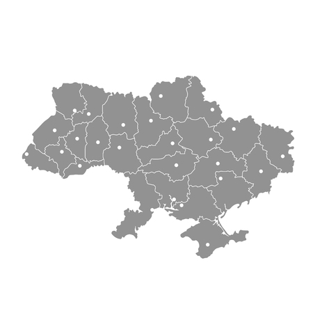 Map of Ukraine with Crimea peninsula, Donetsk and Lugansk