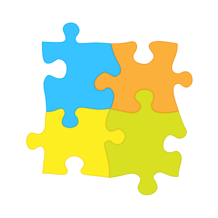 Four jigsaw puzzle pieces - solidarity and teamwork symbol Stock Vector - 102940254