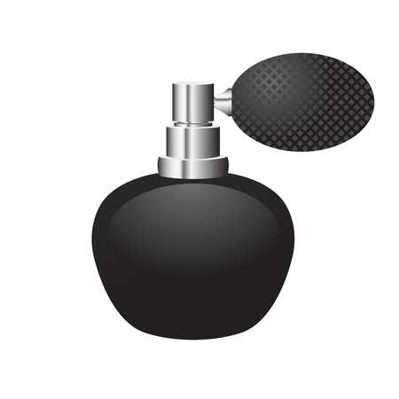 Black bottle of perfume with sprayer rubber bulb