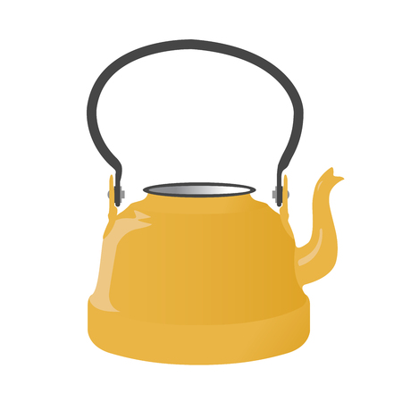 Old metallic kettle with handle on white background
