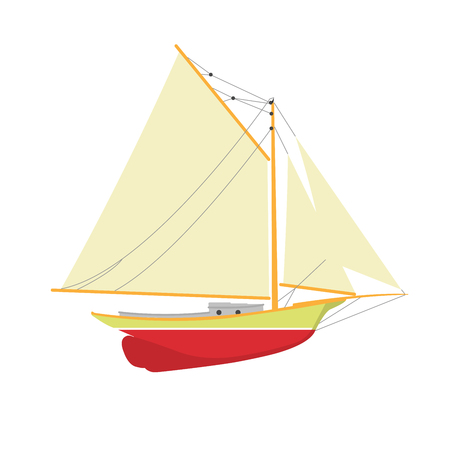 Sailboat or yacht side view - sailer out of water Illustration
