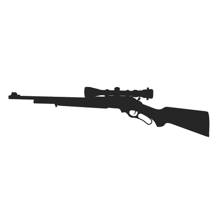 Silhouette of sniper rifle with backsight on white background