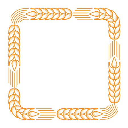 Square frame with border made of ears of wheat Ilustração