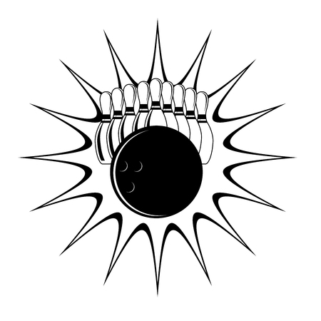Bowling strike - set of bowling pins and ball impact