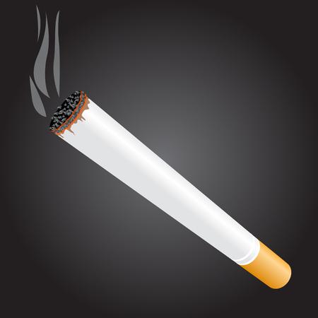 Burning cigarette on dark background - tobacco smolder