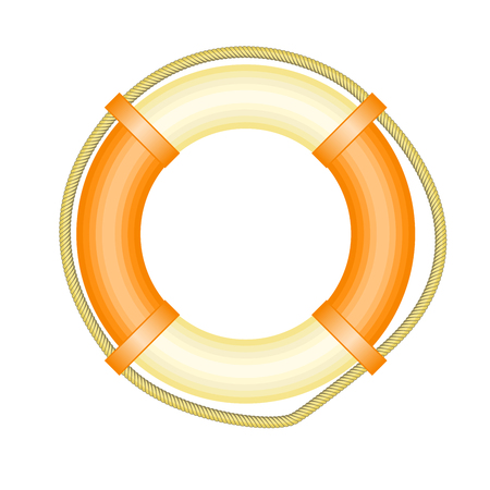 Life buoy with rope - symbol of rescue and help concept