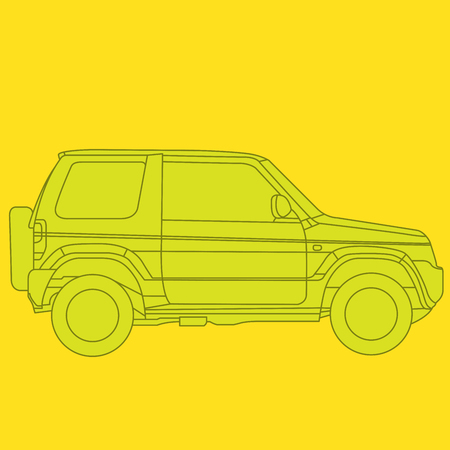 Off-road mini SUV side view - outline of 4x4 car 向量圖像