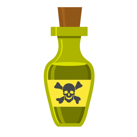 Vintage bottle with poison and skull on label Иллюстрация