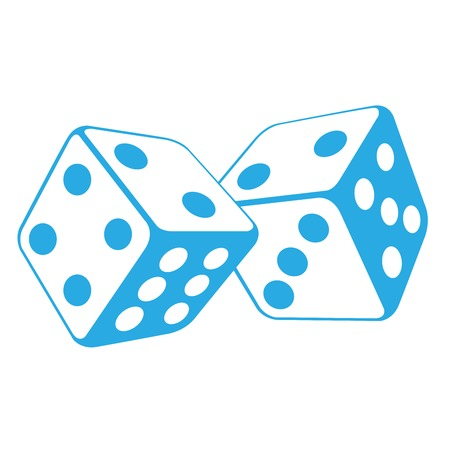 Dice - two gambling cubes, casino roulette concept Illustration
