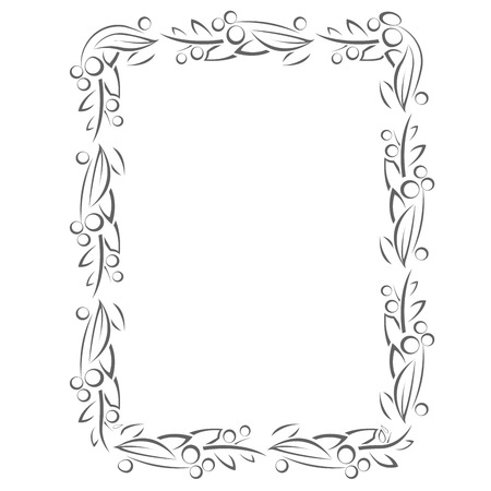 Flourish frame with leaves and berries in line style 일러스트