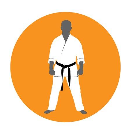 Standing man in kimono - martial arts fighter, judoist