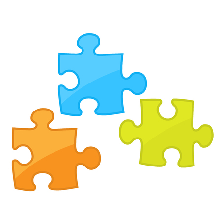 Pieces of jigsaw puzzle game -  motley components of puzzles Illustration