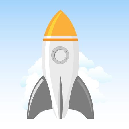 Rocket launch - spacecraft in clouds, rocket start