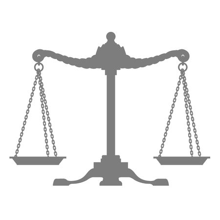 Silhouette of old balance - scales, symbol of justice