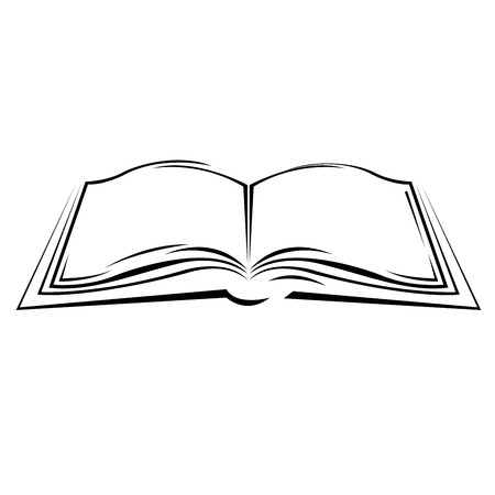 Symbolic sketch of open book - simple style textbook Ilustração
