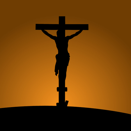 Silhouette of the crucifixion with Jesus Christ 일러스트