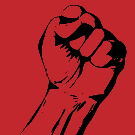 Strike poster with tight fist - protest concept