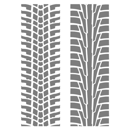 Two seamless tyre tracks patterns - wheel tire imprint