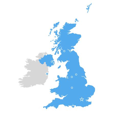 Great Britain map - United Kingdom, Scotland and Ireland contour