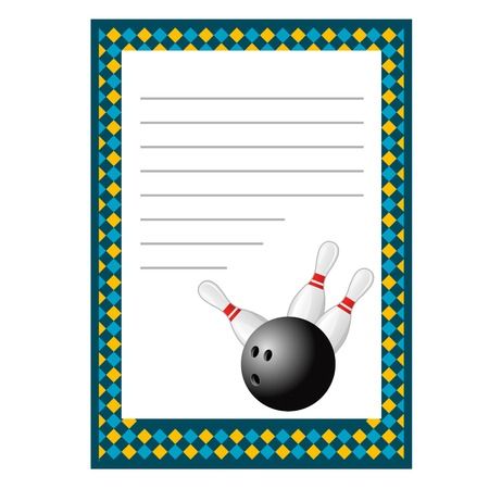 Bowling tournament invitation blank template - bowls poster Illustration