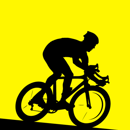 Racing cyclist - silhouette of bicyclist in race