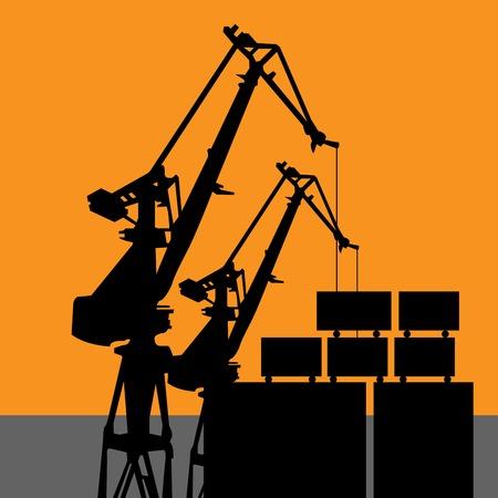 Coal harbor crane - wharf crane silhouette